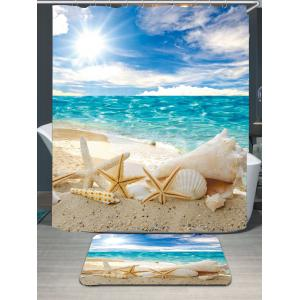 Conch Shells Beach Waterproof Shower Curtain Rug Set