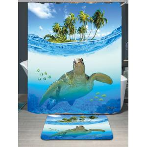 Sea Turtle Waterproof Shower Curtain Carpet Set