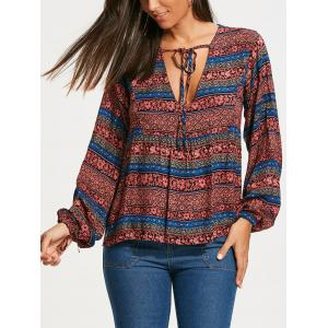 Plunging Neckline Bohemia Print Long Sleeve Blouse