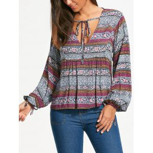 Plunging Neckline Bohemia Print Long Sleeve Blouse - White - 2xl