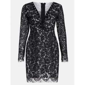 Plus Size Plunging Neckline Lace Sheath Dress