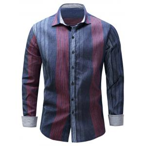 Color Block Panel Stripe Chambray Shirt - Blue And Red - 2xl