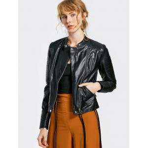 Zippered Embossed PU Leather Striped Jacket - BLACK XL