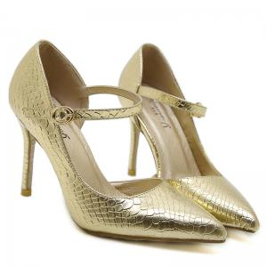 Buckle Strap Snake Embossed Pumps -