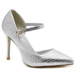 Buckle Strap Snake Embossed Pumps