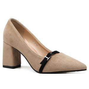 Contraste Buckle Strap Block Heel Pumps