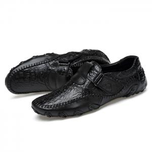 Stitching Embossed Slip On Casual Shoes - Noir 38