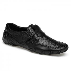 Stitching Embossed Slip On Casual Shoes - Black - 41