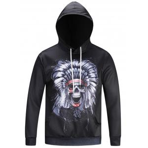 Pocket Hooded Chief Skull Print Hoodie