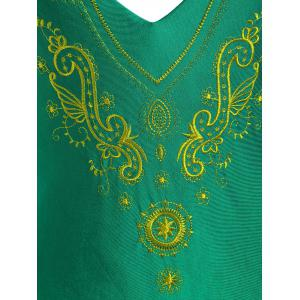 Plus Size Cross Back Embroidered Swimsuit - GREEN 3XL