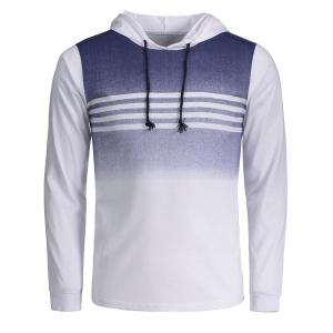 Stripe Ombre Drawstring Pullover Hoodie