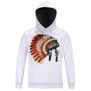 Chief Hat Print Hooded Pocket Hoodie - White - 3xl