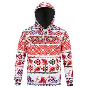 Long Sleeve Drawstring Tribal Print Hoodie