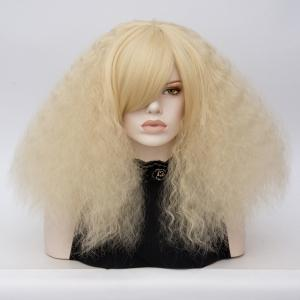 Long Side Bang Fluffy Curly Wave Lolita Cosplay Wig - Light Gold
