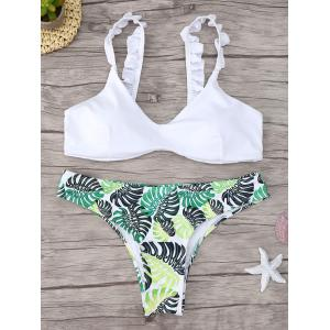 Frill Trim Printed Scoop Neck Bikini Set - White - L
