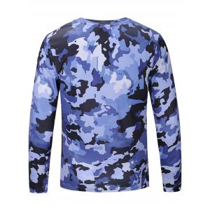 Camouflage Print Long Sleeve T-shirt - BLUE L