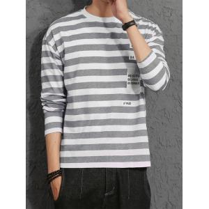 Long Sleeve Graphic Print Stripe T-shirt - GRAY M
