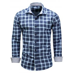 Long Sleeve Checked Chambray Shirt