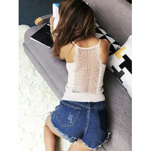 Ribbed Lace Insert Hollow Out Cami Top - WHITE ONE SIZE