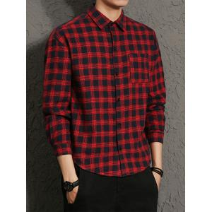 Cotton Blends Long Sleeve Checked Shirt - RED M