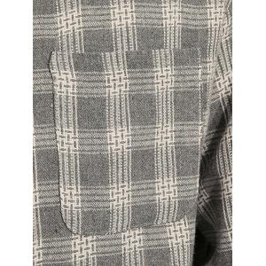 Cotton Blends Long Sleeve Checked Shirt - GRAY 3XL