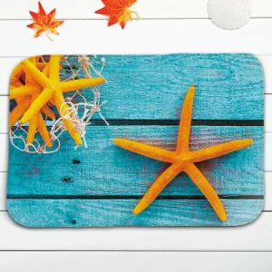 Starfish Plank Print Flannel 3Pcs/Set Bath Toilet Rugs - TURQUOISE