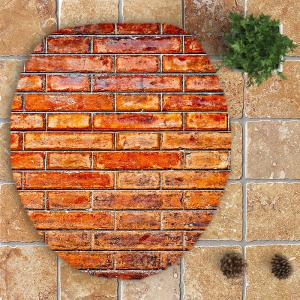 3Pcs Retro Common Bricks Print Nonslip Bathroom Mats Set - LIGHT BROWN