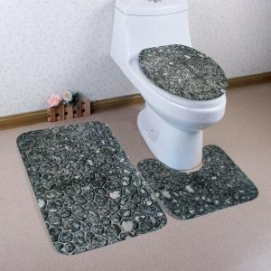 Stones Wall Pattern 3 Pcs Bath Mat Toilet Mat