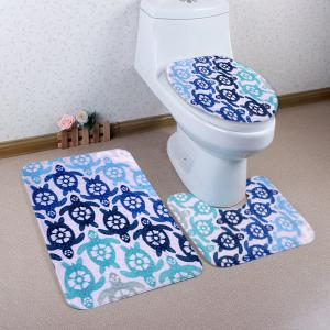 Cartoon Tortoise Pattern 3 Pcs Bath Mat Toilet Mat