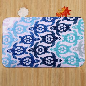 Cartoon Tortoise Pattern 3 Pcs Bath Mat Toilet Mat - BLUE