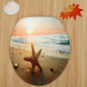 Sunset Beach Starfish Pattern 3 Pcs Bath Mat Toilet Mat - COLORMIX