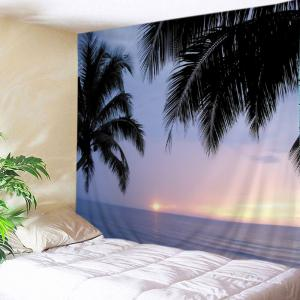 Sunset Ocean Trees Print Tapestry Wall Hanging Art Decoration - Stone Blue - W79 Inch * L71 Inch