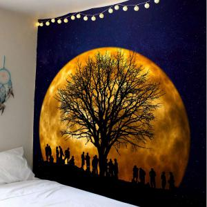 Wall Hanging Galaxy Tree Printed Tapestry - Blue And Orange - W79 Inch * L71 Inch
