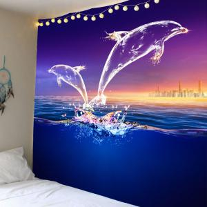 Transparent Dolphin Printed Wall Art Tapestry - Colormix - W59 Inch * L51 Inch