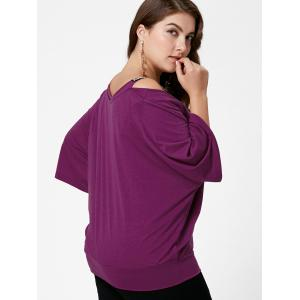 Plus Size Open Shoulder Batwing Sleeve Top -