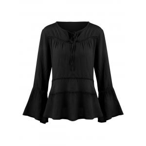 Keyhole Hollow Out Flare Sleeve Blouse