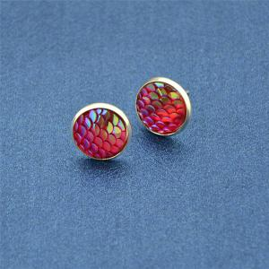Round Mermaid Scales Stud Tiny Earrings - Red
