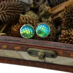 Round Mermaid Scales Stud Tiny Earrings - GREEN