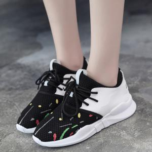 Graffitti Breathable Mesh Sneakers - BLACK 37