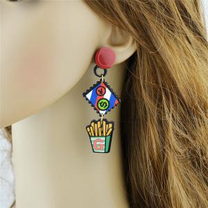 Funny Rhinestone Chips Drink Dollar Earrings - RED