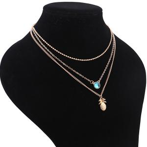 Collier en alliage Faux Crystal Pineapple Layered -