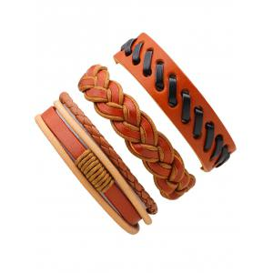 Retro Woven Faux Leather Bracelets Set - BROWN