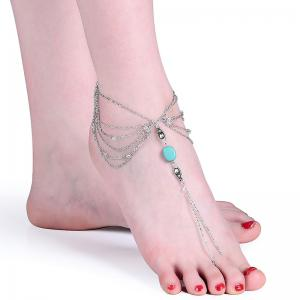 Faux Turquoise Teardrop Chain Slave Anklet -