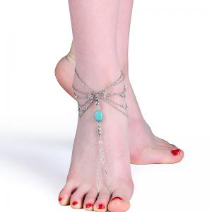 Faux Turquoise Teardrop Chain Slave Anklet
