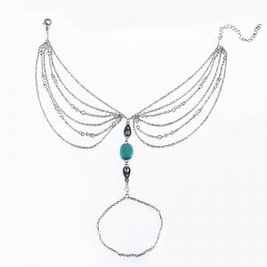Faux Turquoise Teardrop Chain Slave Anklet - SILVER