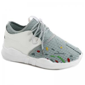 Graffitti Breathable Mesh Sneakers - Gray - 38