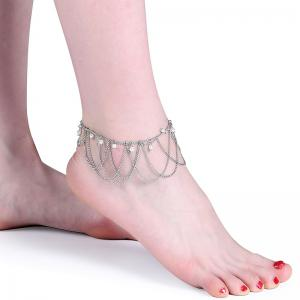 Faux Pearl Vintage Fringed Chain Anklet - Argent