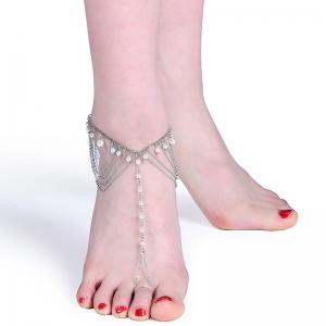 Faux Pearl Slave Fringed Chain Anklet