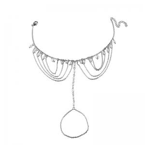 Faux Pearl Slave Fringed Chain Anklet - Argent