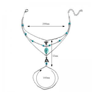 Faux Turquoise Bohemian Teardrop Slave Anklet - SILVER